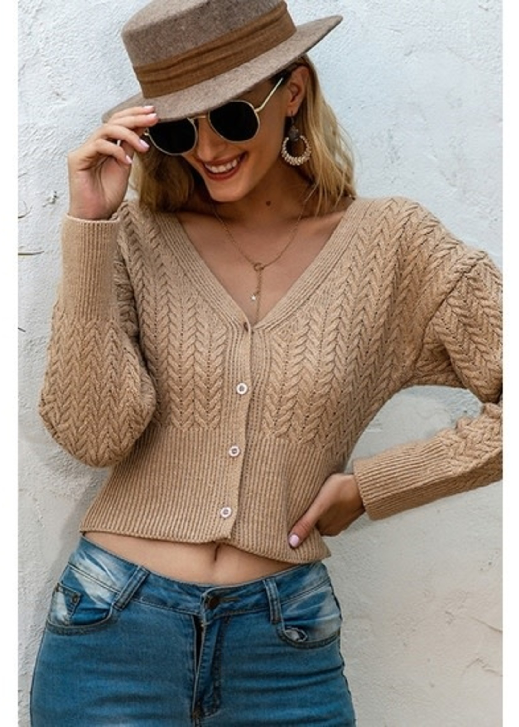 Esley Cropped Cardigan Sweater - Wheat