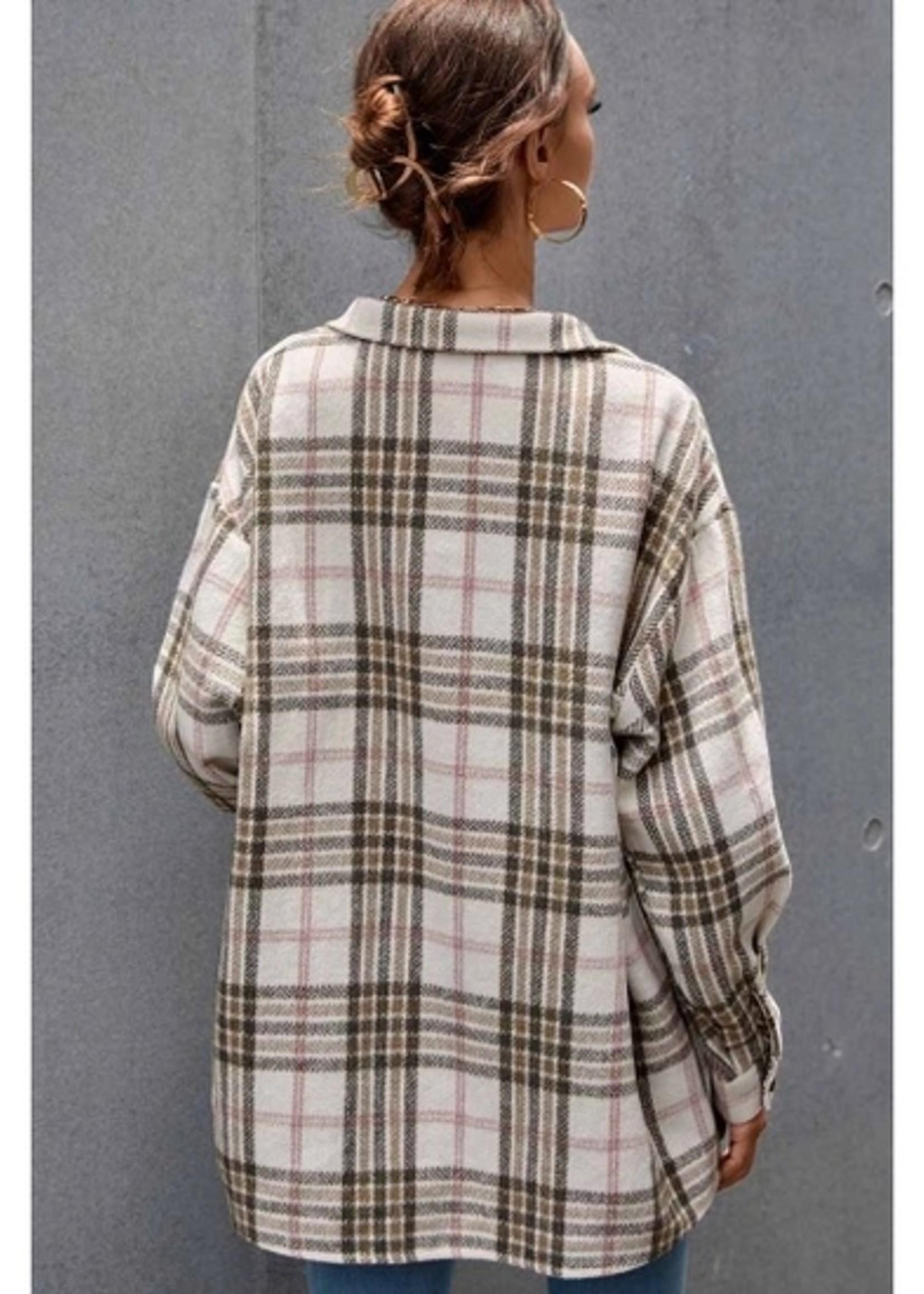 Casual Plaid Print Woven Jacket
