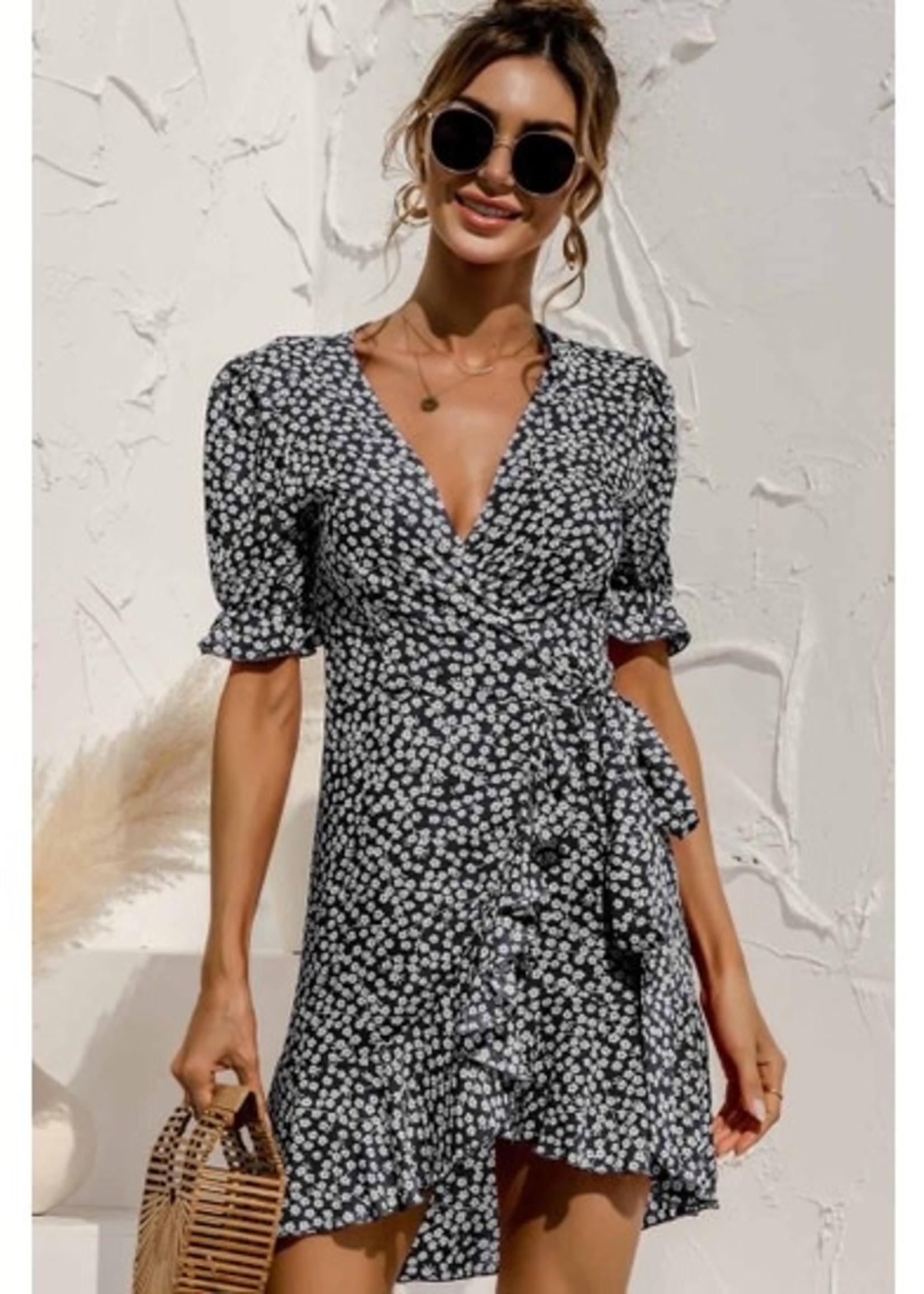Esley Floral Print Mini Dress - Black