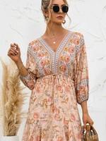 Esley Floral Mini Dress - Buff