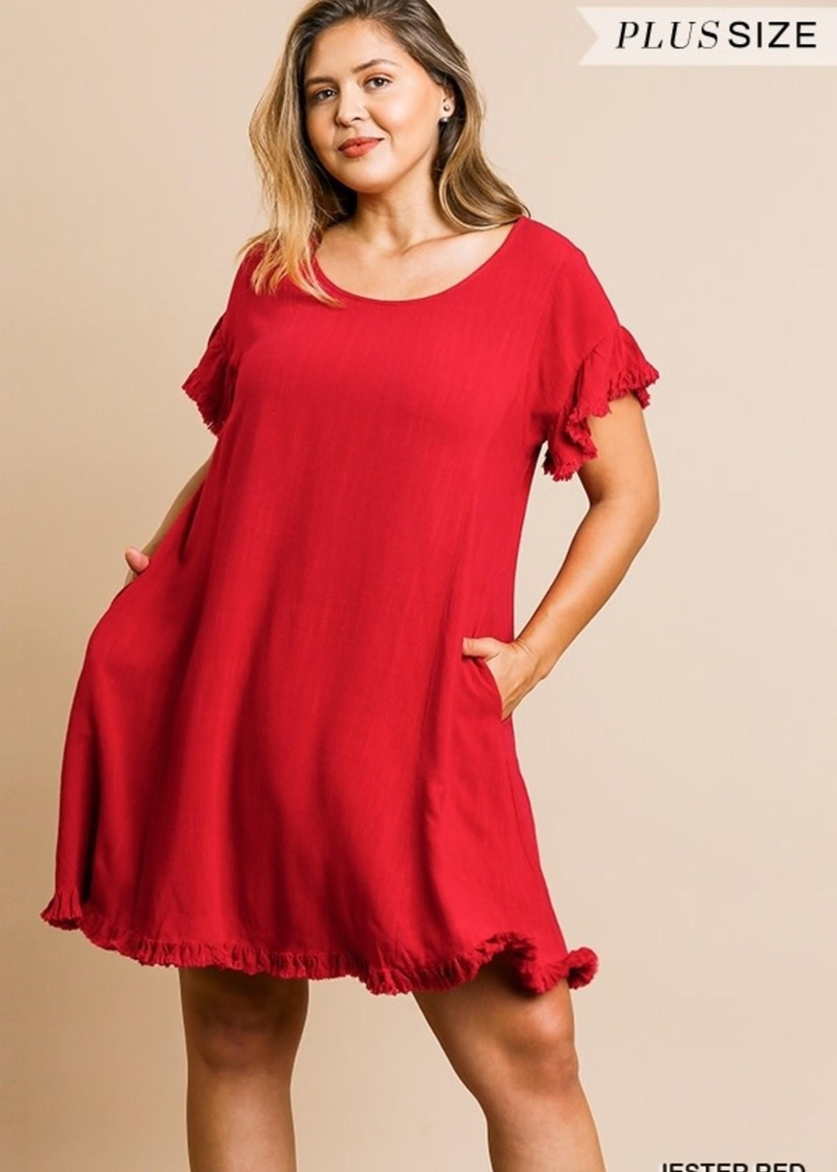 Umgee Linen Blend Short Sleeve- Jester Red