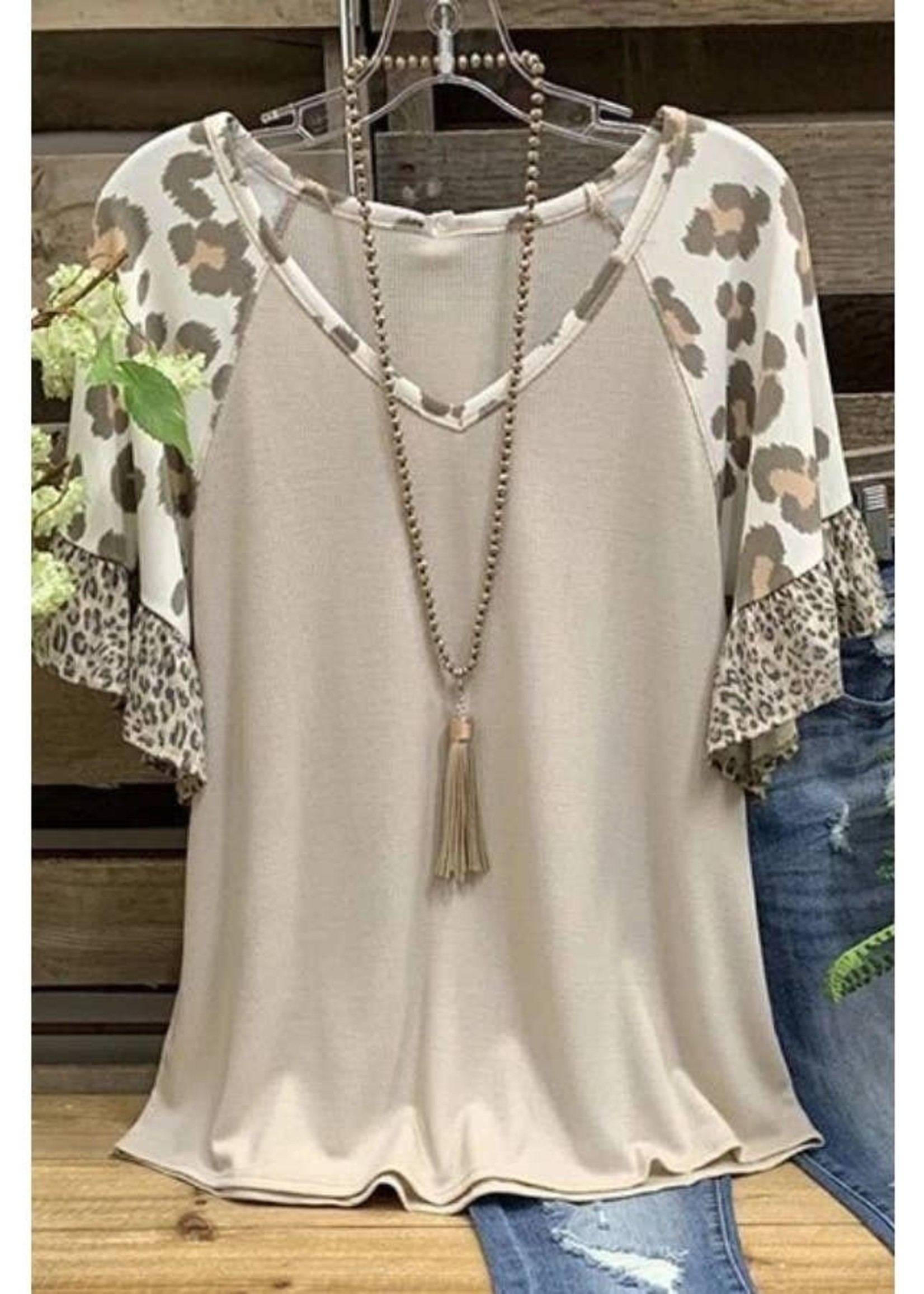 Leopard Ruffle Sleeve Top