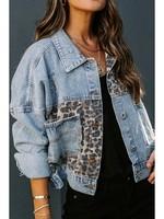 Leopard Splicing Denim Jacket