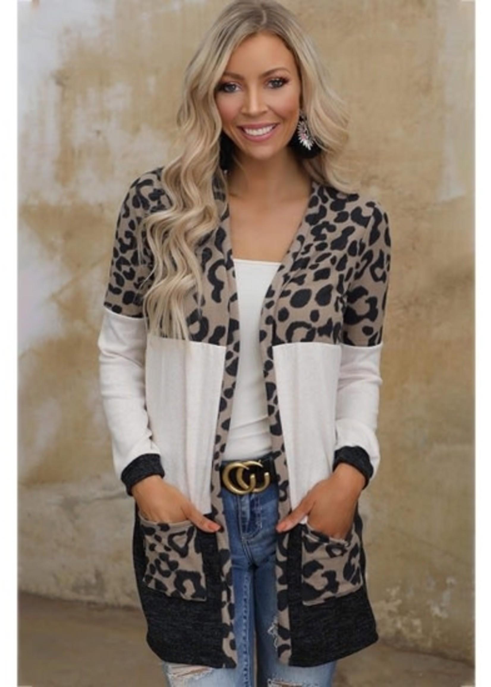 Leopard Print Knitting Mid Length Cardigan