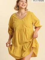 Umgee Half Sleeve Tiered Babydoll Dress
