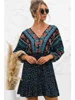 Esley Floral Mini Dress - Blue