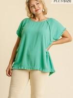 Umgee Linen Blend Short Sleeve Emerald