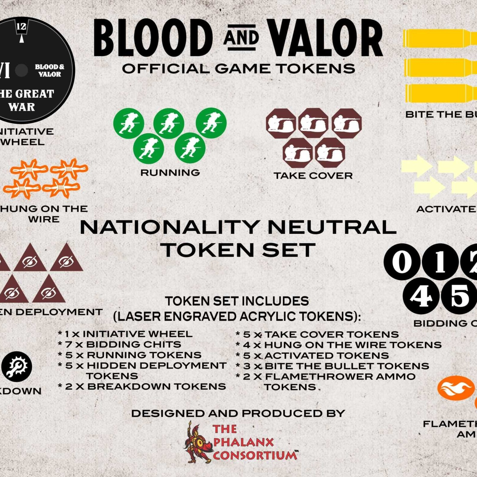 Blood and Valor Nationality Neutral Wheel/Token Set