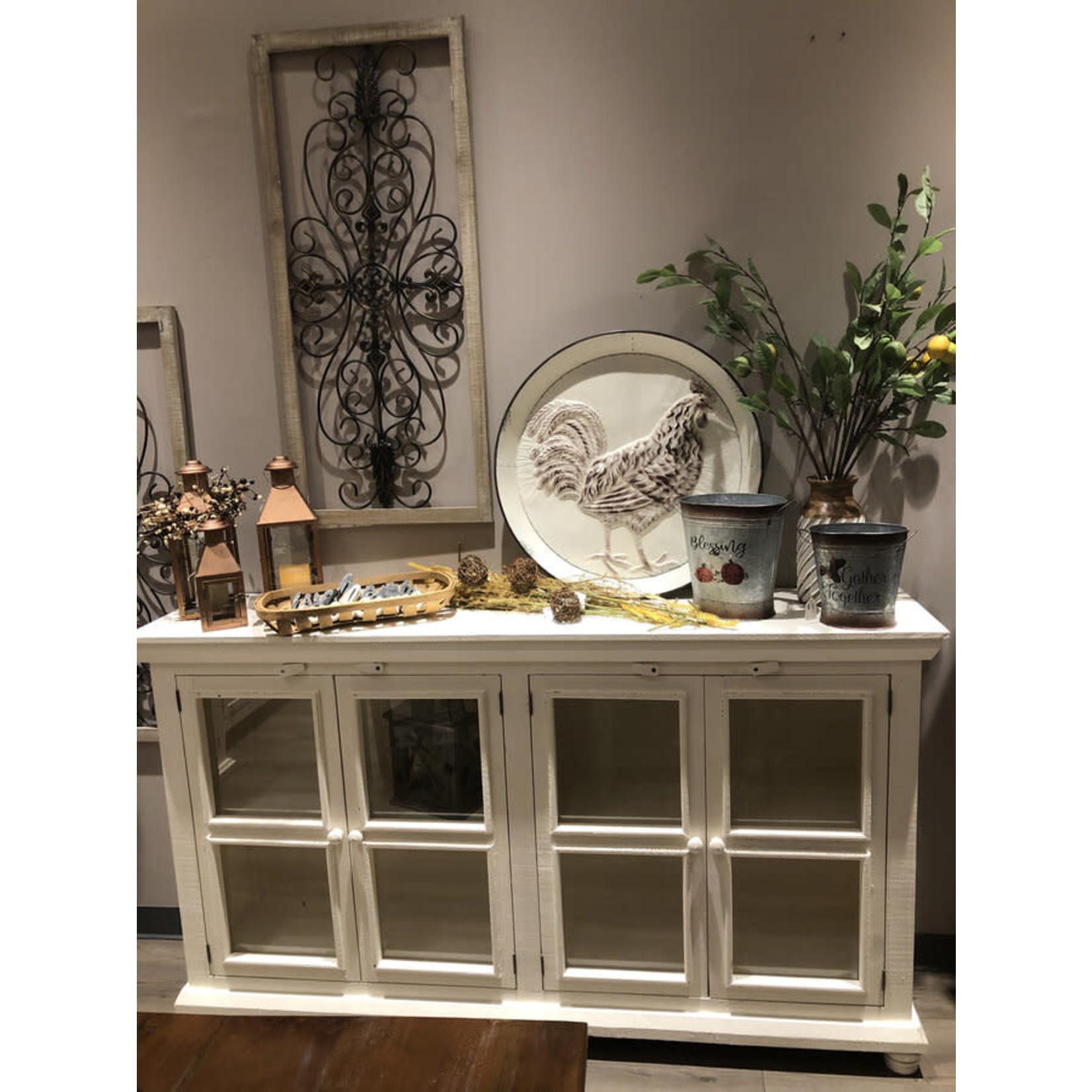 Cabinet 4 Door W/Glass (White)