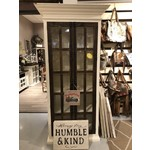 Distressed Glass Door Bookcase (White)