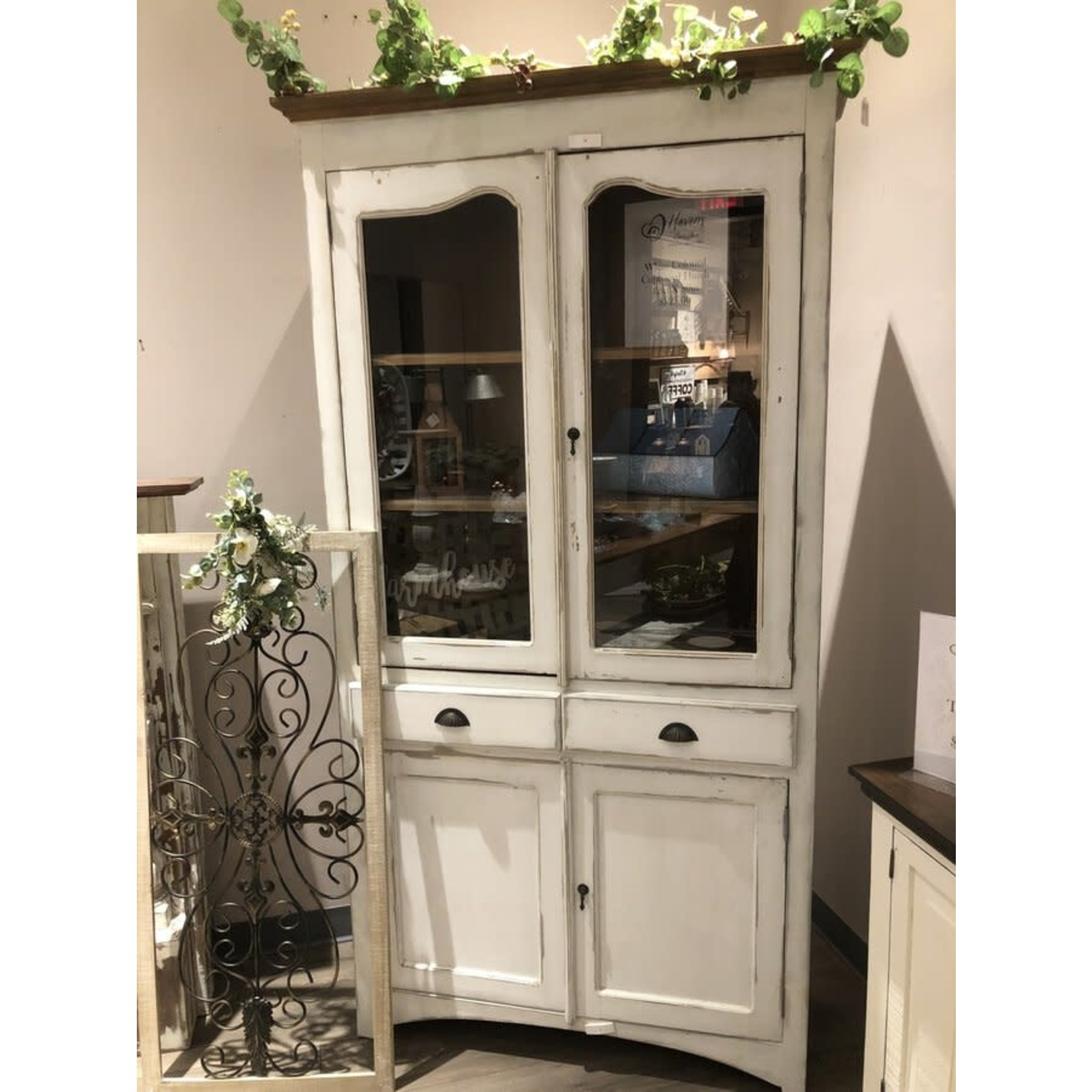 White Colonial Cupboard Hutch