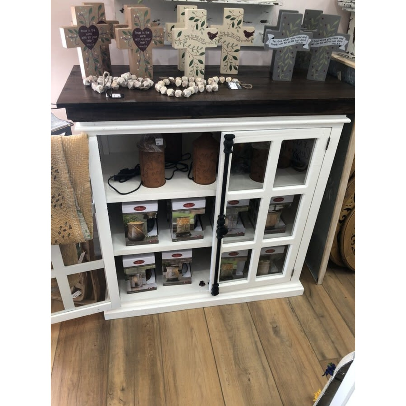 Emory 2 Door Console W/Glass & Iron