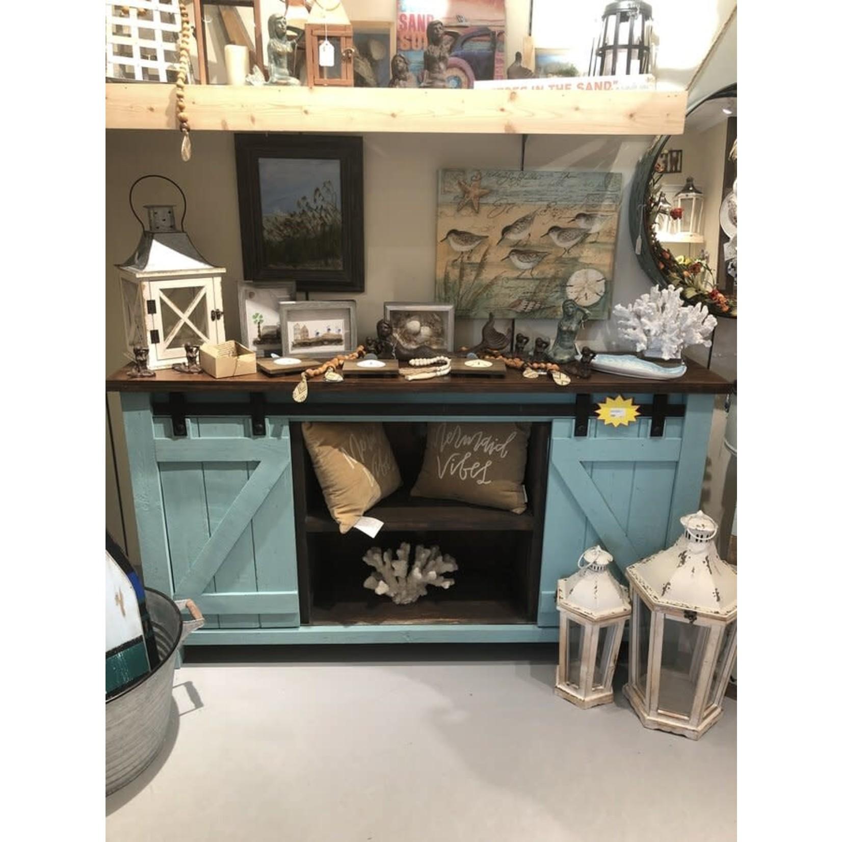 Narrow Barndoor TV Stand (Turquoise)