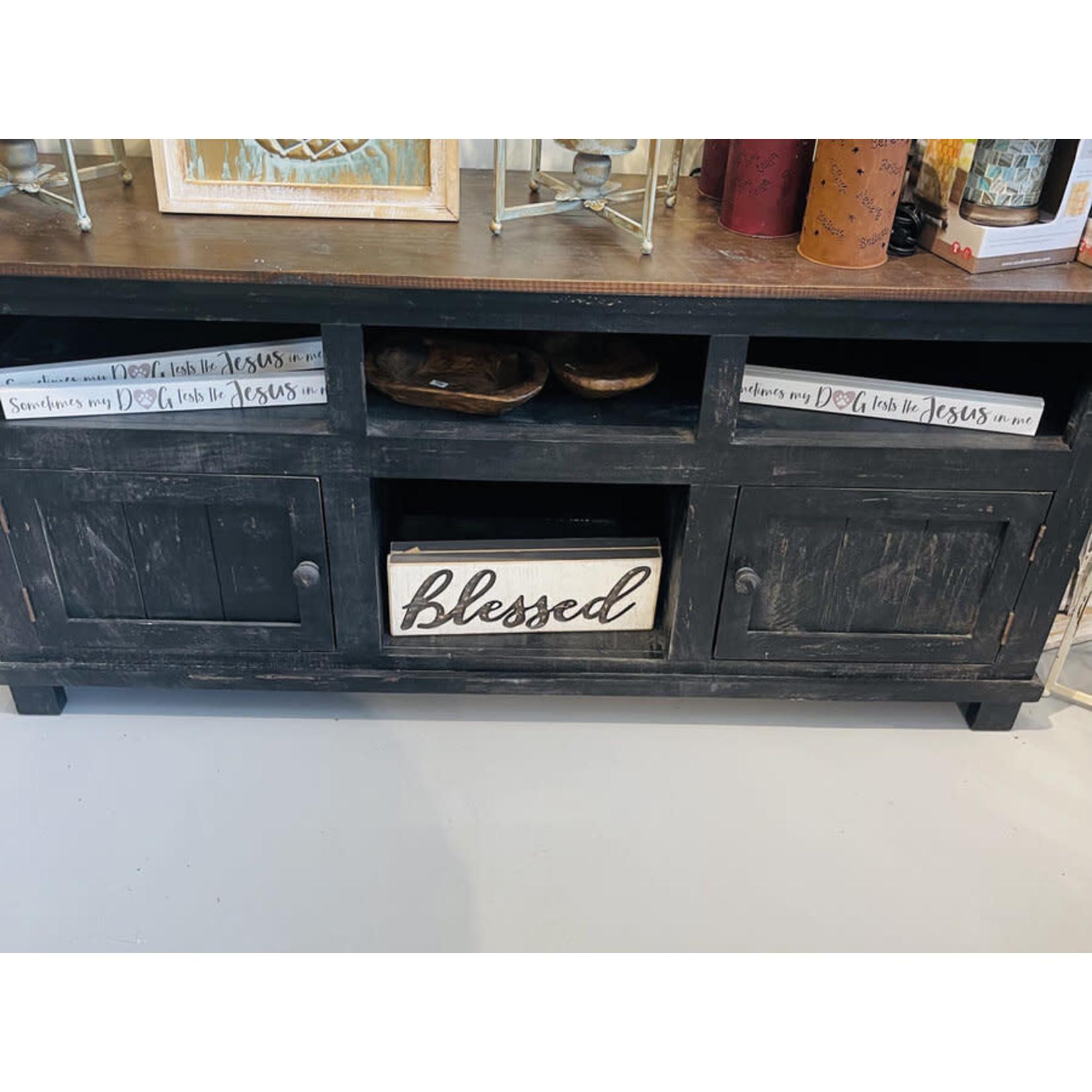 TV Stand 2 Door Black with Wood Top