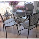 Tin Scissor Table & 2 Tin Chairs