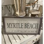 Myrtle Beach Town Coordinates Sign (12 x 24)