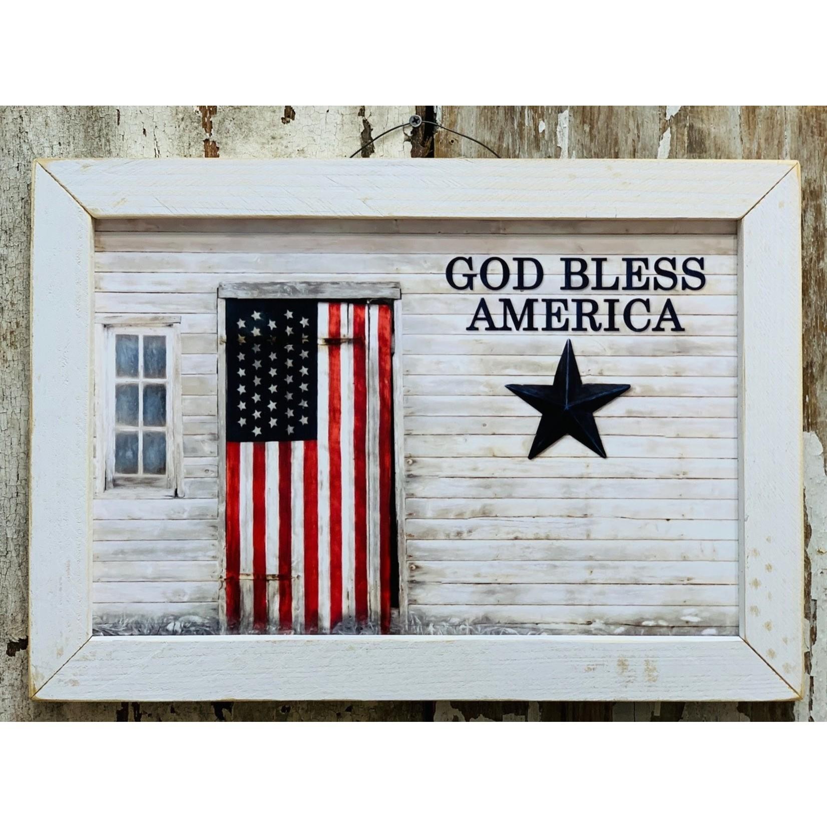 God Bless American Flag Sign