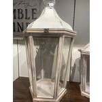 Wood Lantern Glass Enclosed White Top LARGE