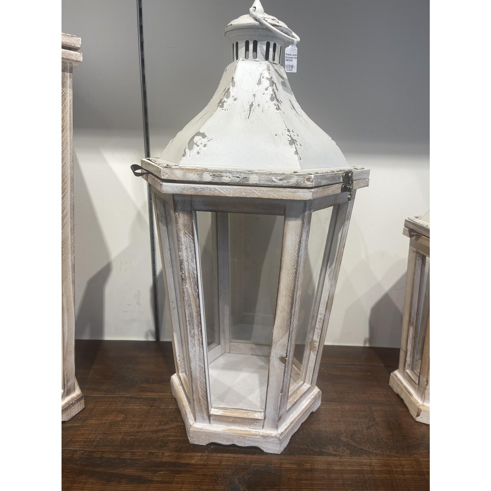 Wood Lantern Glass Enclosed White Top MEDIUM