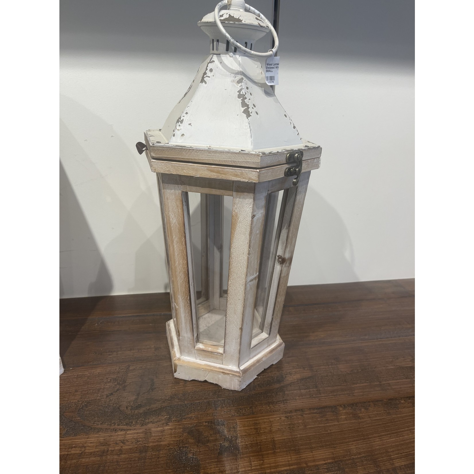 Wood Lantern Glass Enclosed White Top SMALL