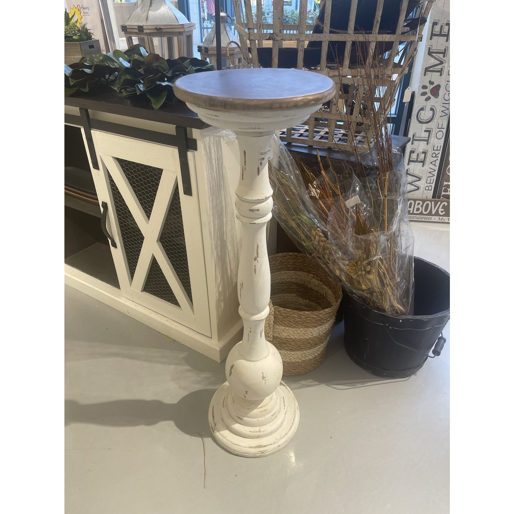 White French Country Candle Stand