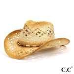 C C Beanie Tea Stained Raffia Cut Out Cowboy