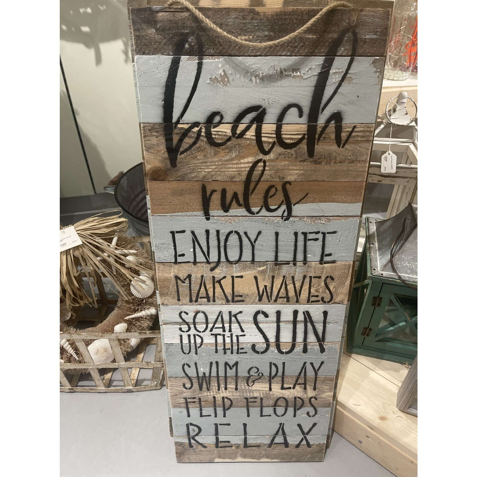 "12"" x 32"" Beach Rules Enjoy Life Reclaim Wood Sign"