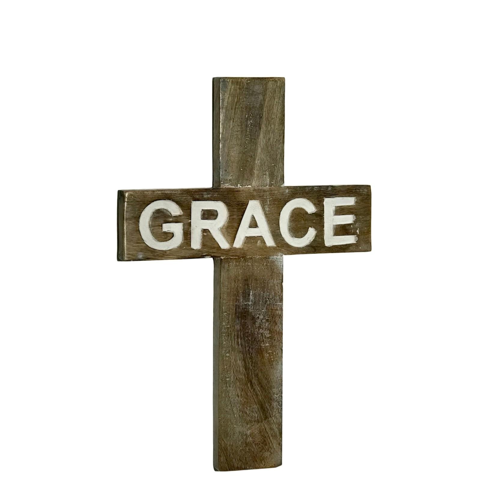 Grace Carved Mango Wood Wall Cross