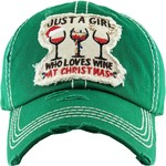 Just a Girl who love Wine at Christmas Green Cap