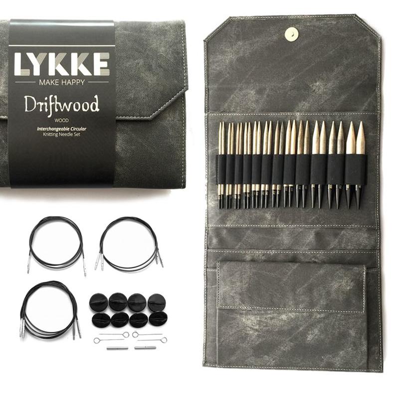 """LYKKE Lykke Driftwood  5"""" Interchangeable Needle Set, Grey Denim Effect Case"""